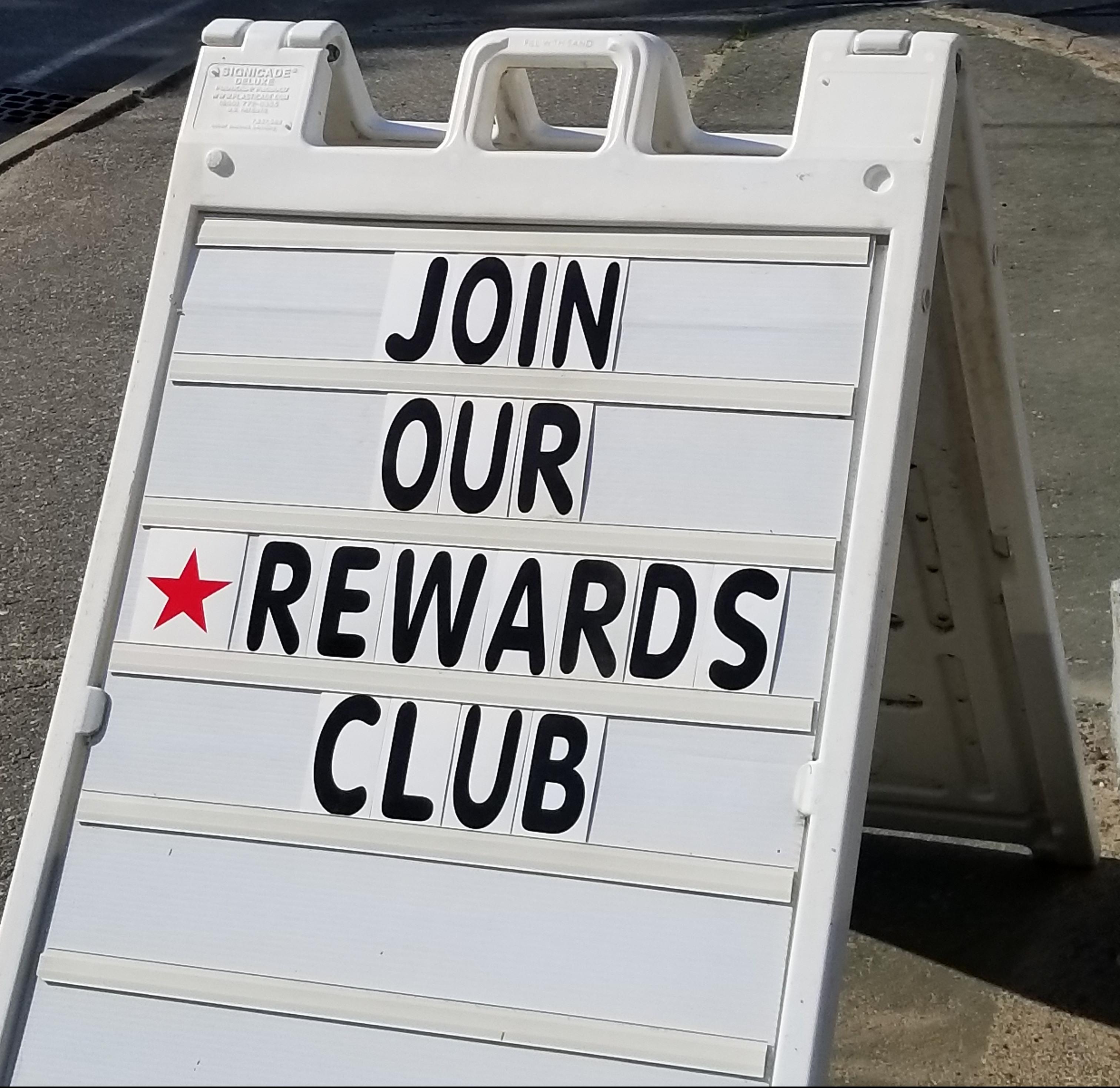 Rewards club sign