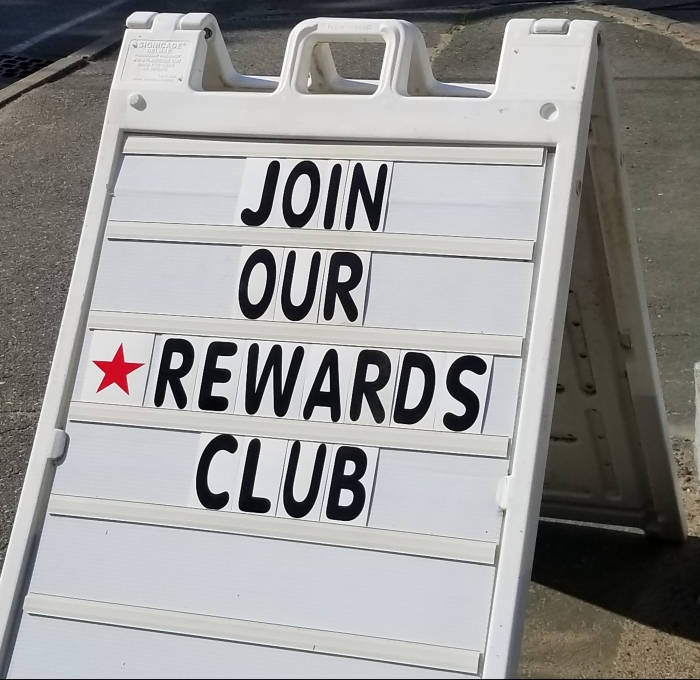 Rewards club sign